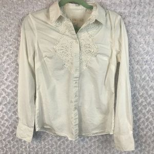Boston Proper Bead/Sequin Embroidered Shirt
